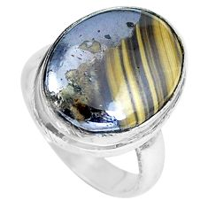 925 silver natural yellow schalenblende polen ring jewelry size 5 d27992