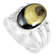 Clearance Sale- Natural yellow schalenblende polen 925 silver ring jewelry size 7 d28032