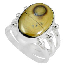 Clearance Sale- Natural yellow schalenblende polen 925 silver ring size 5 d28034