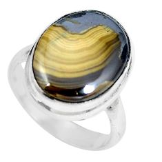 925 sterling silver natural yellow schalenblende polen ring size 6.5 d28035