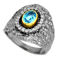 Clearance Sale- Natural blue topaz topaz 925 sterling silver ring jewelry size 6.5 d28040