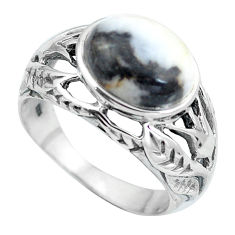 Clearance Sale- 925 sterling silver natural white zebra jasper ring jewelry size 9 d28864
