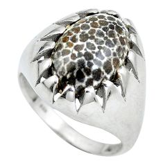 Natural black stingray coral from alaska 925 silver ring size 8 d28877
