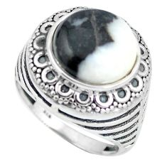 Natural white zebra jasper 925 sterling silver ring size 7.5 d28882