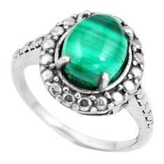 Natural green malachite (pilot's stone) 925 silver ring size 7.5 d28885