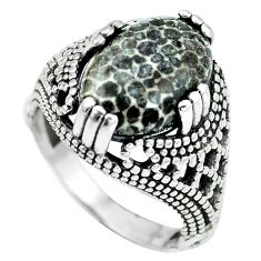 Clearance Sale- 925 silver natural black stingray coral from alaska ring jewelry size 6.5 d28893