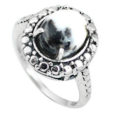 Clearance Sale- Natural white zebra jasper 925 sterling silver ring jewelry size 6 d28895