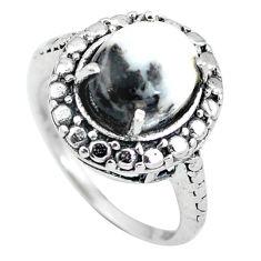 Natural white zebra jasper 925 sterling silver ring jewelry size 6 d28895