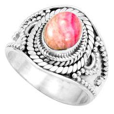 Natural pink rhodochrosite inca rose (argentina) 925 silver ring size 7.5 d28901