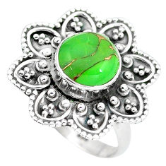 Clearance Sale- Green copper turquoise 925 sterling silver ring jewelry size 7 d28914
