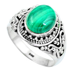 Clearance Sale- Natural green malachite (pilot's stone) 925 silver ring size 7.5 d28919