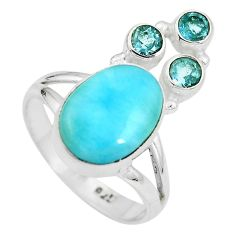 Clearance Sale- Natural blue larimar topaz 925 sterling silver ring size 8 d28930