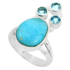 Natural blue larimar topaz 925 sterling silver ring size 6.5 d28934