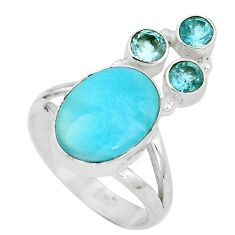 Clearance Sale- 925 sterling silver natural blue larimar oval topaz ring size 7 d28937