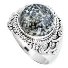 Natural black stingray coral from alaska 925 silver ring size 8 d28943