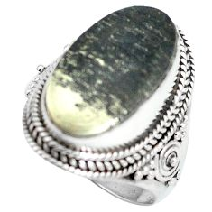 Clearance Sale- Golden pyrite in magnetite (healer's gold) 925 silver ring size 7.5 d28948