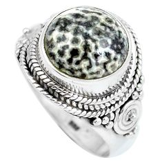 Natural black stingray coral from alaska 925 silver ring size 7 d28950
