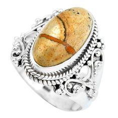 Natural brown picture jasper 925 sterling silver ring size 6.5 d28955