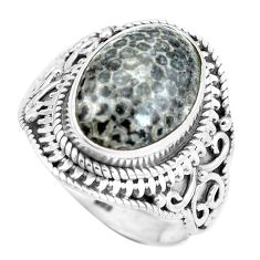 Natural black stingray coral from alaska 925 silver ring size 7.5 d28958