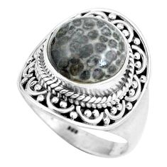 Natural black stingray coral from alaska 925 silver ring size 7.5 d28968