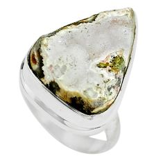 Ocean druzy pear shape 925 sterling silver ring jewelry size 7.5 d28984
