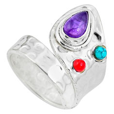 Clearance Sale- 925 silver natural purple amethyst coral adjustable ring size 9 d28998