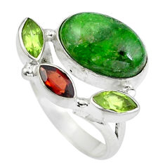 Clearance Sale- Natural green chrome diopside red garnet 925 silver ring size 7 d29009