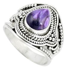 Natural purple charoite (siberian) 925 silver ring jewelry size 7.5 d29039