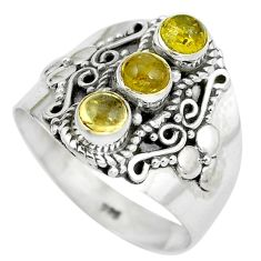 Clearance Sale- Natural yellow citrine 925 sterling silver ring jewelry size 8 d29043