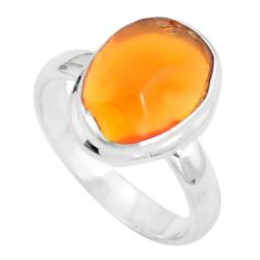 925 silver natural orange mexican fire opal ring jewelry size 7.5 d29048