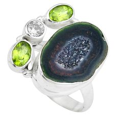 Clearance Sale- Natural black geode druzy green peridot 925 silver ring size 7 d29049