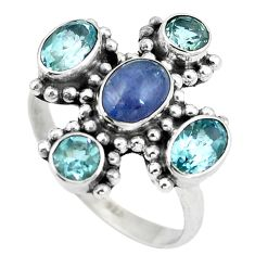 Natural blue tanzanite topaz 925 sterling silver ring jewelry size 7 d29061