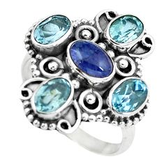 Clearance Sale- Natural blue tanzanite topaz 925 sterling silver ring jewelry size 7 d29066
