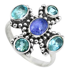 Clearance Sale- Natural blue tanzanite topaz 925 sterling silver ring jewelry size 7 d29068