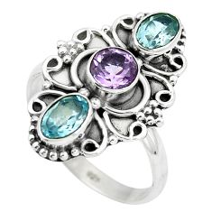 Natural blue topaz purple amethyst 925 sterling silver ring size 7 d29071