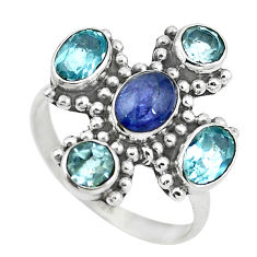 Clearance Sale- Natural blue tanzanite topaz 925 sterling silver ring size 7 d29074