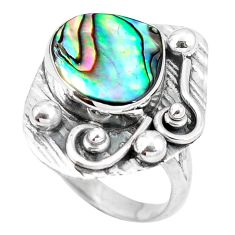 Natural green abalone paua seashell 925 silver ring size 8.5 d29092