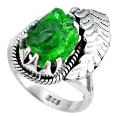 Clearance Sale- Green chrome diopside rough fancy 925 sterling silver ring size 7.5 d29098