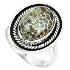 Natural black stingray coral from alaska 925 silver ring size 7 d29135