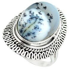 Natural white dendrite opal (merlinite) 925 silver ring jewelry size 7 d29141
