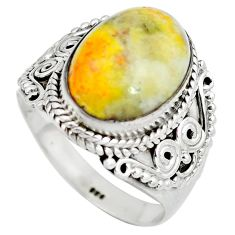 925 silver natural yellow bumble bee australian jasper ring size 8 d29144