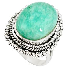 Natural green amazonite (hope stone) 925 silver ring jewelry size 6.5 d29146