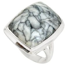 Clearance Sale- Natural black pinolith 925 sterling silver ring jewelry size 6 d29147