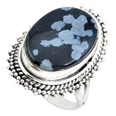Natural black australian obsidian oval 925 sterling silver ring size 6.5 d29150