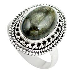 Natural black obsidian eye 925 sterling silver ring jewelry size 7.5 d29151