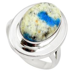 Natural k2 blue (azurite in quartz) 925 silver ring jewelry size 6.5 d29153