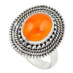 925 silver natural orange cornelian (carnelian) oval ring size 8 d29156