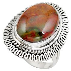 Clearance Sale- Natural green bloodstone african (heliotrope) 925 silver ring size 7 d29158