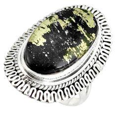 Golden pyrite in magnetite (healer's gold) 925 silver ring size 6.5 d29159