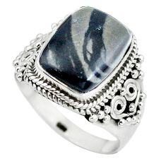 925 sterling silver natural black picasso jasper octagan ring size 8.5 d29160